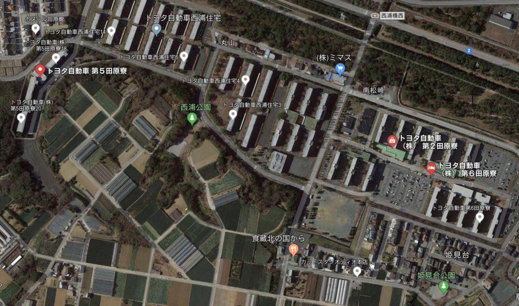 トヨタ自動車田原工場の寮の位置